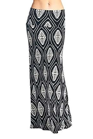 82 Days Women'S Poly Span Various Prints Maxi Skirt - F39 White & Black S