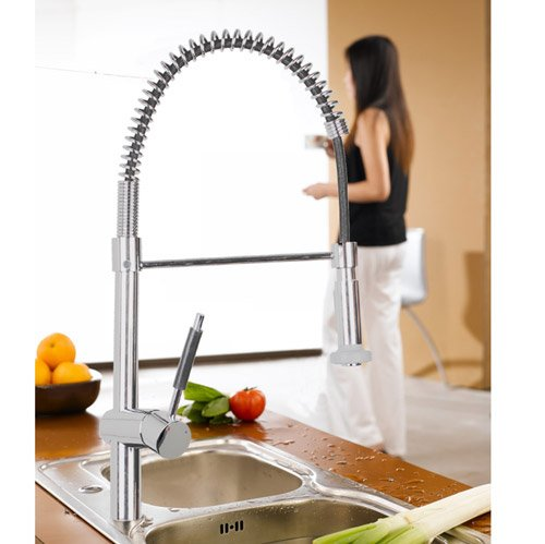 Professional Single Handle Pull Out Spray Pre-rinse Spring Kitchen Sink Mixer Tap, Chrome