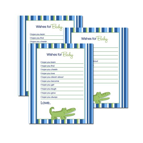Alligator Printed Wishes for Baby Advice Cards Fill-in (20 Count)