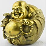 Brass Buddha Statue -- 6 inch High Smile Laughing Buddhas --BBS051