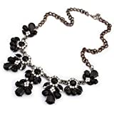 Andyshi Women Chunky Clear Crystal Resin Flower Fashion Collar Statement Necklace