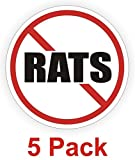 "5-Pcs Superb Popular No Rats Vinyl Stickers Plant Factory Hard Hat Decals Weatherproof Size 2"" Color Red Black White"