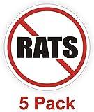 "5-Pcs Superb Popular No Rats Vinyl Stickers Plant Factory Hard Hat Decals Weatherproof Size 2"" Color Red Black White"