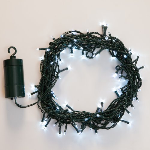 64 LED Battery Operated Outdoor and Indoor String Lights with Auto Timer Feature and 8 Functions, Cool White - 30 Day Batteries