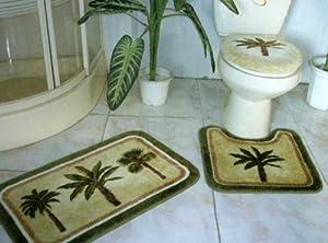 3 pieces tropical green palm tree bathroom