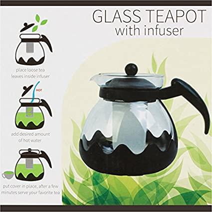 Large Glass Teapot with Infuser - 42 Ounce (1.35 Lt) - 5 Cup Glass Kettle Teapot