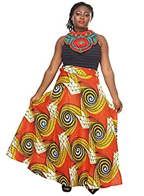 African Planet Women's Wax Skirt Cotton Dress Queen Inspired Wrap Around Waist Maxi