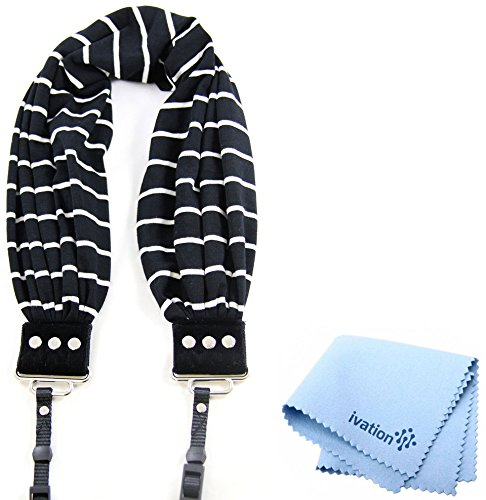 Capturing Couture Black & Ivory Stripe Scarf Super Comfortable Camera Strap and a Bonus Ivation Spot Cleaning Cloth