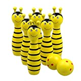 Baby Bowling Toy YIFAN Cute Infant Toy Set Mini Cartoon Wooden Bowling Game Toy Ball Toy Set for Children Preschool Kids Toy Christmas Borthday Gitfs 6 Pieces of ittle Bee