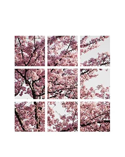 Art Addiction Pink Cherry Blossoms Set of 9, Multi, 15.75 x 15.75