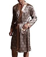 Amybria Men High Quality Silk Pajamas Nightgown/Robe One Piece