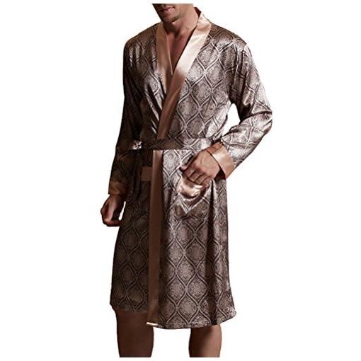 Amybria-da-uomo-in-seta-di-alta-qualit-per-pigiamacamicia-Accappatoio-2-colori
