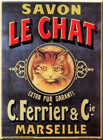 PLAQUE METAL 20X15cm PUB RETRO SAVON LE CHAT