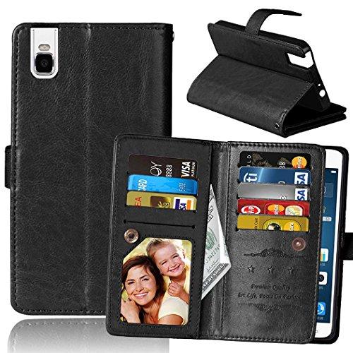 Custodia Huawei Shot X (Huawei Honor 7i), Meet de [ 9 Slot Schede ] per Huawei Shot X (Huawei Honor 7i) pelle Protettiva Portafoglio PU Pelle Case, Huawei Shot X (Huawei Honor 7i) Flip Cover Pelle Stand / Cover Shell / Protettiva Caso / Cover / Protezione / Copertura / Flip Cover Pelle Stand Custodia in pelle con supporto supporto Per Huawei Shot X (Huawei Honor 7i) - nero