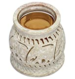 """SouvNear Oil Diffuser on Sale 3.5"""" Oil Warmer Burner for Aromatherapy Fragrance with Detachable Glass Soapstone Tealight Candle Holder Stoneware Art from India with Elephant Decor"""