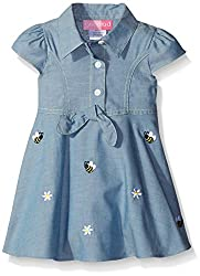Baby Goodlad Little Girls' Chambray Dress with Bee Embroidery, Blue, 18 Months
