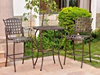 "Santa Fe Iron Bar Bistro Set of Three (Matte Brown) (39""H x 30""W x 30""D) by International Caravan"