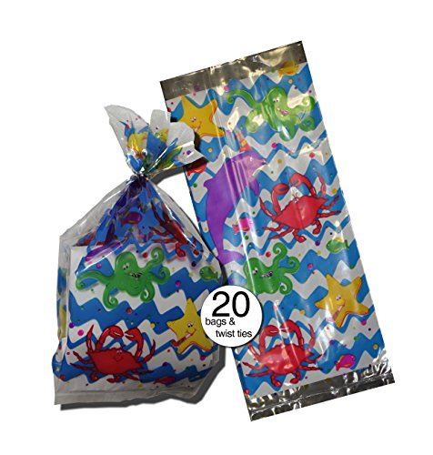 Ocean Fish Design Party Cellophane Bags, With Silver Twist Ties Bulk Pack of 20