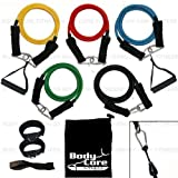 RESISTANCE BANDS SET EXERCISE BANDS HOME FITNESS TRAVEL FITNESS WORKOUT FOR YOGA P90X CORE PART OF THE BODYCOREFITNESS ® RANGE