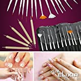 Nail Art Kit With Free Nail Stamp Plate Kit , 20 Nail Art Brush Set With Nail Plate Set, Dotting Pens Marbling...
