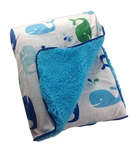 Little Bedding By NoJo Whale Velboa Blanket, Blue - 1