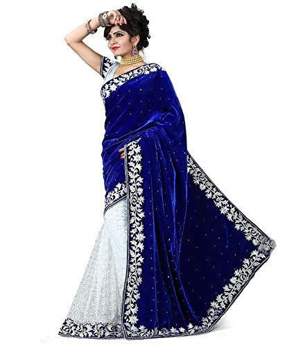 Subhash Sarees Women's Velvet & Net Saree (PP1002SRD38_Blue)