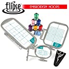 Elipse 3-Hoop Embroidery Package w/ Embroidery Thread and Scissors for Brother SE270D, SE-350, SE-400, HE-120, HE-240, PE-300S, PE-400D, PE-500, Innovis 500D, Innovis 900D, Innovis 950D, LB6770PRW, LB6800PRW, Babylock Sofia A-Line and Babylock Intrigue