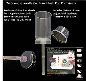 "Giarraffa Co Cake Push Pop Containers 24 Ct with Screw in Stick and Base, 1"" Flat Top Lids and 1-12 Hole Paperboard Tray"