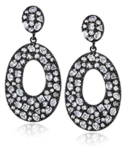 """CZ by Kenneth Jay Lane """"Trend Collection"""" Rhodium-Plated Cubic Zirconia Earrings, 12 CTTW"""