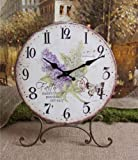 Metal Hydrangea Clock on Stand