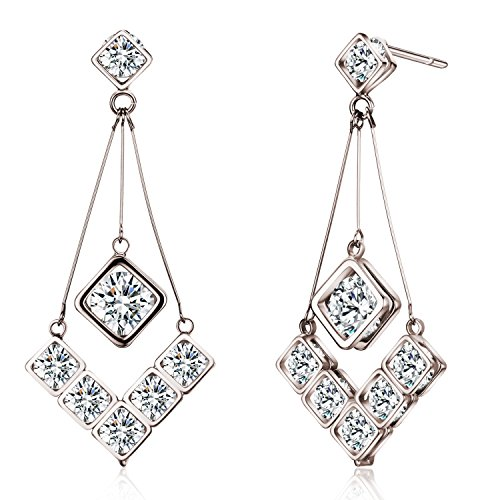 Rhodium Plated Cubic Zirconia Drop Earrings (8 cttw) Review
