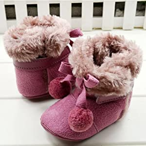 GT-DRESS Hot Sell Toddler Faux Suede Fur Pompm Winter Boot Girl Kids Velcro Bowknot... by GT Dress