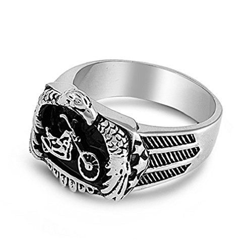 Men's 316L Stainless Steel Eagle Embracing Motorcycle Chopper Biker Ring, Size 12
