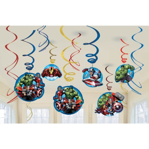 12-Piece Marvel Avengers Assemble Swirl Decorations, Multicolored - 1