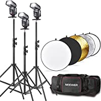 "Neewer® TT560 Flash Speedlite Kit for Canon Nikon Panasonic Olympus Fujifilm Pentax Sigma Minolta Leica and Other SLR Digital SLR Film SLR Cameras, includes (3)Neewer TT560 Speedlite Flash + (1)32""/80cm 5 in 1 Collapsible Circular Reflector + (3)71""/180cm"