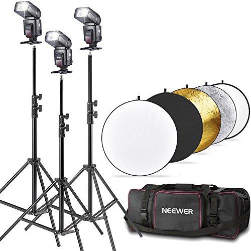 Neewer® TT560 Flash Speedlite Kit for Canon Nikon Panasonic Olympus Fujifilm Pentax Sigma Minolta Leica and Other SLR Digital SLR Film SLR Cameras, includes (3)Neewer TT560 Speedlite Flash + (1)32