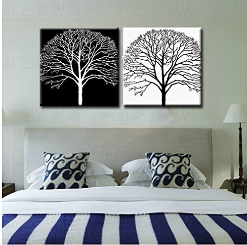 Xm Art-Two Trees With Black And White Background Elegant?Modern?Canvas?Art?Oil?Painting?Unstretched?And?No?Frame?