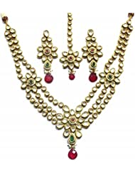 Shingar Jewellery Ksvk Jewels Gold Plated Fine Quality Polki Kundan Necklace Set For Women (nk31-acs-a)