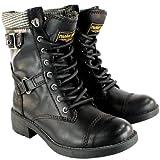 Womens Rocket Dog Thunder Mid Calf Lace Up Flat Military Boots
