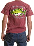 """Quit Staring At My Bass"" Funny Fishing T-shirt - Red"
