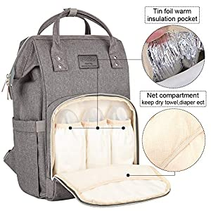 Lifecolor Diaper Bag Nappy Bags Waterproof Travel Backpack Mom Baby Care(Grey) (Color: Grey, Tamaño: 17.7x13.8x9.4 Inch)