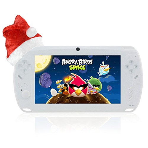 "Megafeis G810 7"" Inch 8GB 1080P Android Handheld Portable Game Console Tablet PC Dual-Camera MP3/MP4/MP5 Media Player PSP Style Wifi HDMI (White) New Year Christmas Thanksgiving Day best gift present for children"