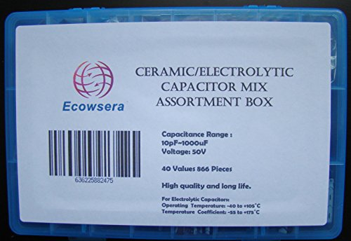 40 Value 866 Pcs Ceramic Electrolytic Capacitor Mix Assortment Box