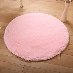 Wolala Home Beautiful Super Soft Coral Fleece Round Area Rugs Durable Solid Floor Rug Washable Non-slip Bedroom Living Room Carpet Coffee Table Bedside Computer Chair Yoga Mats (4\'0x4\'0, Light Pink)