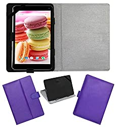 Acm Leather Flip Flap Case For Lava Ivory M4 Cover Stand Purple