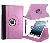 Stuff4 Leather Smart Case with 360 Degree Rotating Swivel Action and Free Screen Protector/Stylus Touch Pen for Apple iPad 2/3/4 - Baby Pink