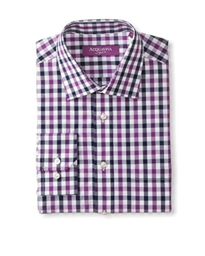Acquaviva Men's Gingham Barrel Cuff Dress Shirt