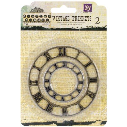 Prima Marketing 1.5 by 2-Inch Sunrise Sunset Mechanicals Metal Vintage Trinkets, Large, Vintage Clock Face, 2-Pack