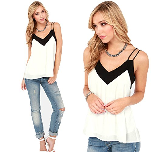 Usstore Women Loose Chiffon Blouse V Neck Tank Tops Casual Short T-Shirt (L)