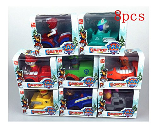 Paw Patrol Racer Puppy Dog Snow Slide Kid Toy Vehicle with Wheels Set of 8Pcs (Paw Patrol Snow Slide compare prices)